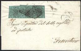 Etats Pontificaux: Lettre De Rome à Ferentino, 30.3.1861 Cachet à Rayure ABJ, 3xBAJ. 1 (4scans) - Etats Pontificaux