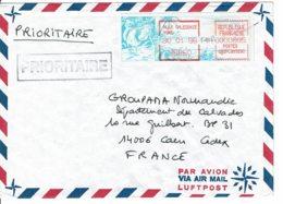 1996 - Courrier De Kone Pour La France - Vignette De Guichet (Le Cagou) - Cartas