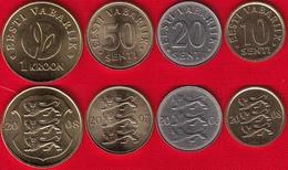 Estonia Set Of 4 Coins: 10 Senti - 1 Kroon 2006-2008 UNC - Estonie