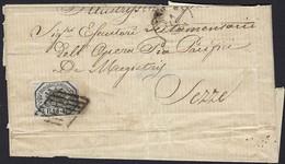 Etats Pontificaux: Lettre Pli  1852, Adressée à Sezze:Timbre BAJ.6, Cachet Grille Pontifical (3scans) - Etats Pontificaux