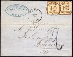 Timbre D'Alsace-Lorraine N°5 ( 2 Ex. ) Sur Lettre De Metz ( Moselle ) Pour Bompertuis ( Isère ) Du 18/04/1871 - Alsace-Lorraine
