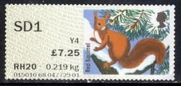 GB 2015 QE2 Special Delivery £7.25 Post & Go Red Squirrel No Gum (E1048 ) - Great Britain