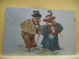L10 9637 CPA 1903  - ANIMAUX - COUPLE DE POULETS HUMANISE EN COUPLE BOURGEOIS - Vögel