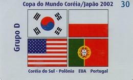 TARJETA TELEFONICA DE BRASIL (FUTBOL, GRUPO D, BANDERAS 4/8, 02/2002). (448) - Brasil