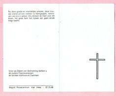 Bidprentje - Z.E.Heer August VANHOVE - Retie 1904 - 1989 - Religion & Esotérisme