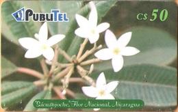 Nicaragua - NI-PUB-0014, PubliTel, Sacuanjoche, Flor Nacional, Siemens - S37,  Flowers, C$50 , Used As Scan - Nicaragua
