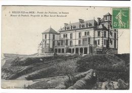 000305 BELLE ILE EN MER : Pointe Des Poulains En Sauzon, Manoir De Penhoet Propriété De Mme Sarah Bernhardt - Belle Ile En Mer