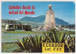 [343] QUITO, Monumento Ecuatorial, Lat. 0º 0' 0''. - Línea Del Ecuador / Equator Line. Sent To Spain (with Stamp). - Ecuador
