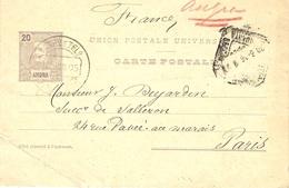 1906- BILHETE POSTAL  20 C  ANGRA  From Paris - Angra