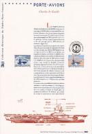 """"""" PORTE-AVIONS CHARLES DE GAULLE """" Sur Document Philatélique Officiel De 2003 (Prix à La Poste = 5.00 €)  N° YT 3557. - De Gaulle (General)"""