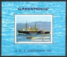 Mua726 TRANSPORT SCHIP SCHEPEN GREENPEACE SHIP SCHIFFE BATEAUX ROMANA ROEMENIË 1997 PF/MNH  VANAF1EURO - Boten