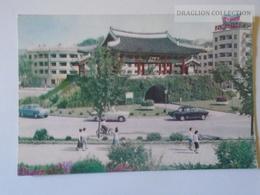 D160814 North KOREA - Old Postcard  Ca 1950-60's  Flag Biker  Automobile - Korea, North