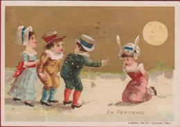 Old Chromo (Liebig Style) Children Enfants Kinderen Sirven Paris Ezelsoren Maan Moon Lune Litho Lithographie - Chromos
