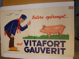 Affiche - Pub. Reclame Vitafort Gauverit - Landbouw - Druk Marci Brussel - Posters