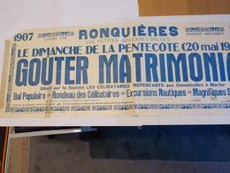 Affiche - Ronquières - Gouter Matrimonal - 1907 - 1934 - Posters