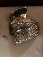 Anello Vintage Di Bigiotteria In Alluminio Con Swarowsky Anni 80 - Idea Regalo - Rings