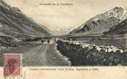 Recuerdo De La Cordillera Camino Internacional Entre La Rep Argentina Y Chile + Beau Timbre 5 Argentina RV - Argentine