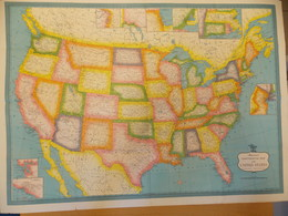 Kaart Map Carte USA - Hammond's Continental Map Of United States Of America - Geographical Maps