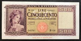 500 Lire Italia 10 02 1948 Raro Q.spl LOTTO 2211 - [ 2] 1946-… : Républic