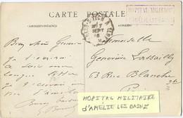 GUERRE 14-18 HOPITAL MILITAIRE D'AMÉLIE LES BAINS - TàD CONVOYEUR ARLES-S-TECH A ELNE POTHION 361 TII A Du 1 SEPT 16 - Postmark Collection (Covers)