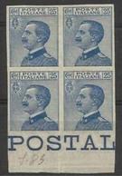 1908 Italia Italy Regno MICHETTI 25c Azzurro Non Dentellato (varietà 83f) In Quartina MLH* Firm.Diena Bl.4 - 1900-44 Vittorio Emanuele III