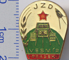 403-1 Space Czechoslovakian Pin. Czechoslovakia Satellite Tractor Star Ear Wheat Collective Farm - Space