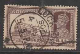 India 1937 King George VI, 1895-1952 4 A Dark Brown SW 157 O Used - 1936-47  George VI
