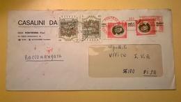 1971 BUSTA INTESTATA RACCOMANDATA BOLLI FONTANE ITALIANE ARTISTI ITALIANI AFFRANCATURA MECCANICA ROSSA - 6. 1946-.. Repubblica