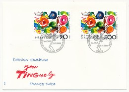 Enveloppe FDC Emission Commune France/Suisse - Jean Tinguely - 1988 - Emissions Communes