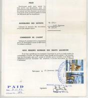 """(Maurice) Mauritius. Timbres Postaux Utilisés Comme Fiscaux Sur Certificat D'avaries 1983. Bateau """"Rosa"""" . - Mauritius (1968-...)"""