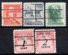 USA Precancel Vorausentwertung Preo, Locals Texas, Lone Oak 841, 5 Diff. - Vereinigte Staaten