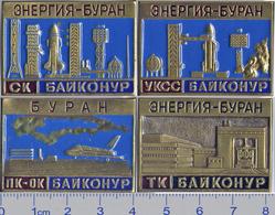 247 Space Russian Pins Set (4 Pcs) Baykonur-Spaceship Buran - Rocket Energy - Space