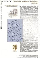 """"""" GENEVIEVE DE GAULLE ANTHONIOZ """" Sur Document Philatélique Officiel De 2003  (Prix à La Poste = 5.00 €)  N° YT 3544. - De Gaulle (Général)"""