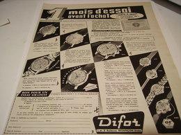 ANCIENNE PUBLICITE MONTRE DIFOR UN MOIS D ESSAIS 1955 - Other