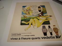 ANCIENNE PUBLICITE AFFICHE MONTRE QUARTZ VEDETTE 1979 - Jewels & Clocks