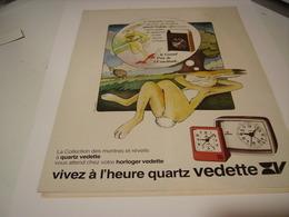 PUBLICITE AFFICHE MONTRE REVEIL QUARTZ VEDETTE 1979 - Bijoux & Horlogerie