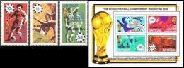 Soccer Football Barbuda #406/8 + Bl 36 1978 World Cup Argentina MNH ** - Coupe Du Monde
