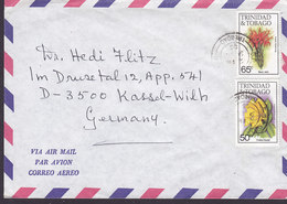 Trinidad & Tobago Air Mail 1985 Cover Brief KASSEL-Wilh. Germany 50 C. & 65 C. Flower Blume Stamps - Trinidad & Tobago (1962-...)