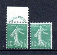K France N° 188 + 188B ** Côte 125 Euros - 1906-38 Semeuse Camée