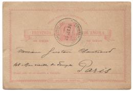 ANGOLA (Portugal) - 1896 CABINDA To Paris - King Carlos Postal Card - Angola