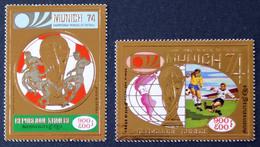 Kambodscha 1973, Football World Cup 1974 Munich, Fußball, Soccer, WM, Gold Stamps, Michel 384 - 385 A, ** (L-108) - Cambodia