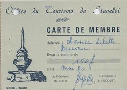STAVELOT - OFFICE DU TOURISME - Carte De Membre. - Unclassified