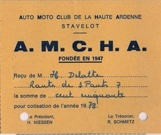STAVELOT - A.M.C.H.A. - AUTO MOTO CLUB DE LA HAUTE ARDENNE - Carte De Membre (1978) - Ohne Zuordnung