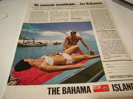 ANCIENNE PUBLICITE SOUVENIR INOUBLIABLE LES BAHAMAS  1965 - Publicité