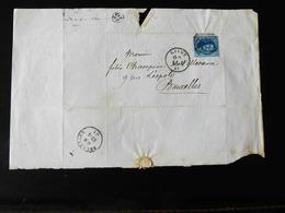 LETTRE DE LIEGE POUR BRUXELLES  -  1861  - - Postmarks - Lines: Distributions
