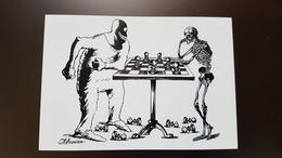 JEU - ECHECS - CHESS  - Humour - Satire - Death - Skeleton - Modern Ukrainian Postcard - Echecs