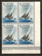 1955 San Marino Saint Marin VELA I° 4 Serie 100L Azzurro-nero In Quartina MNH** Bl.4 - Vela