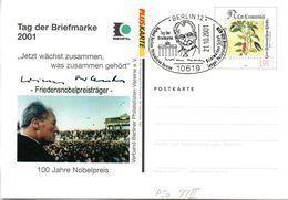 "(BT2) BRD Amtliche Ganzsache-Postk. PSo77II M. Priv. Zudruck ""Willy Brand-Friedensnobelpreisträger"" SSt 21.10.01 BERLIN - [7] République Fédérale"