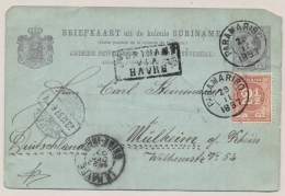 Suriname - 1897 - 2,5 Cent Cijfer Op Briefkaart G9 Van Paramaribo VIA HAVRE Naar Mülheim / Deutschland - Suriname ... - 1975