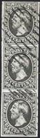 Guillaume III 10c, Noir 1855, Bloc De 3 Timbres/vertical, Michel 1c, Cachtes à Barres, Certifié R.Goebel (2scans) - 1852 Willem III